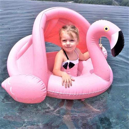 Bouée enfant flamant rose parasoleil