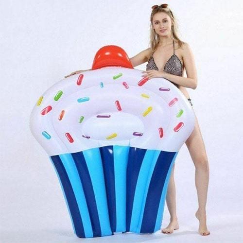 Bouée matelas gonflable cupcake bleu foncé
