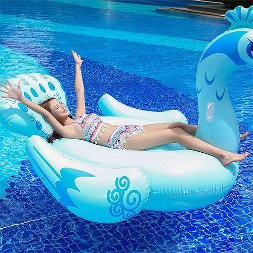Bouée paon bleu XL piscine