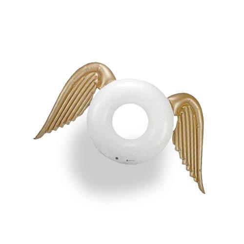 Bouée ronde gonflable ailée blanc or
