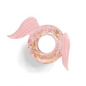 Bouée ronde gonflable ailée rose