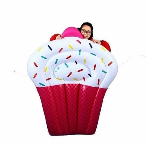 Matelas gonflable cupcake rose géant