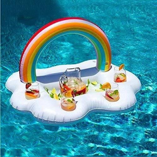 Plateau flottant gonflable arc-en-ciel pour piscine