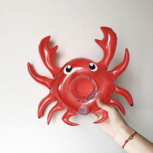 porte gobelet cannette gonflable crabe rouge